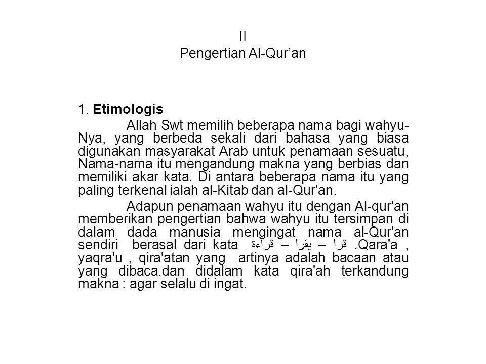 II Pengertian Al-Qur'an 1.