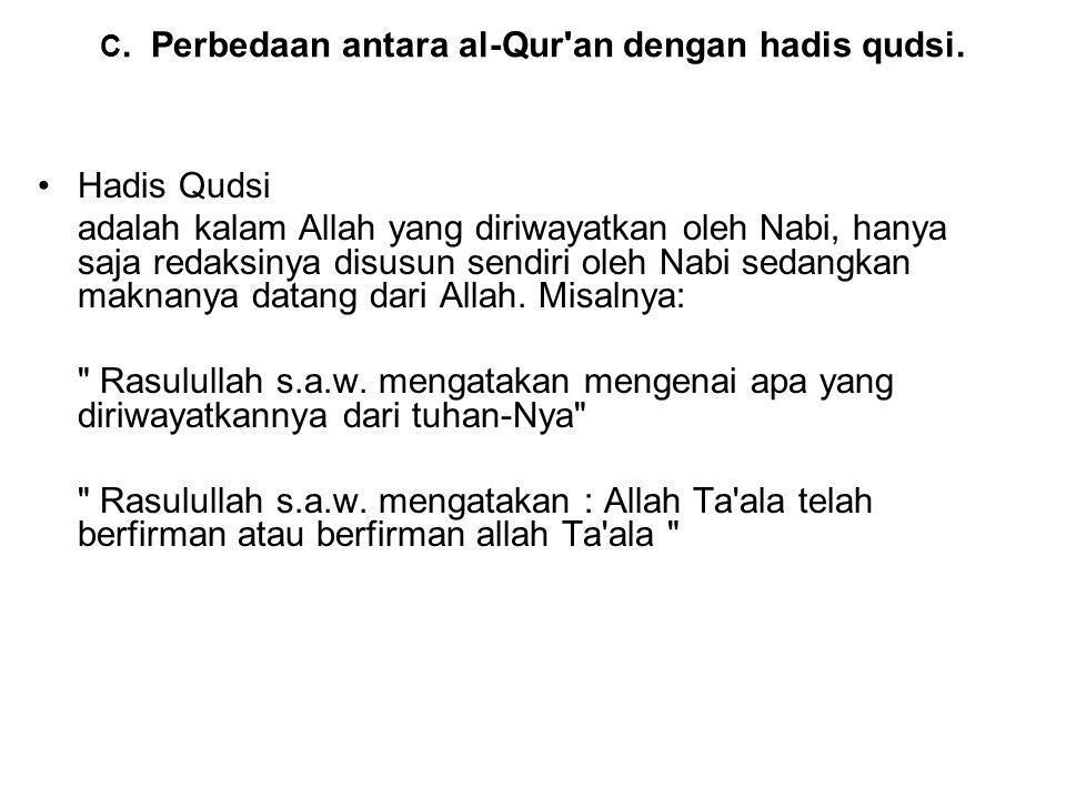 C.Perbedaan antara al-Qur an dengan hadis qudsi.