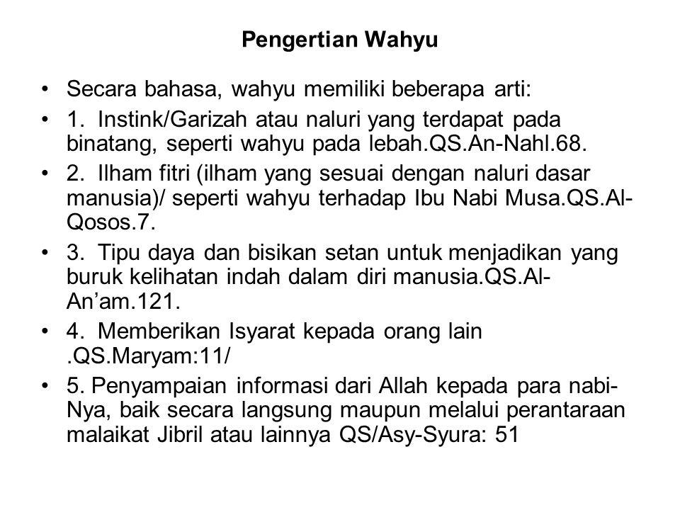 Pengertian Wahyu Secara bahasa, wahyu memiliki beberapa arti: 1.