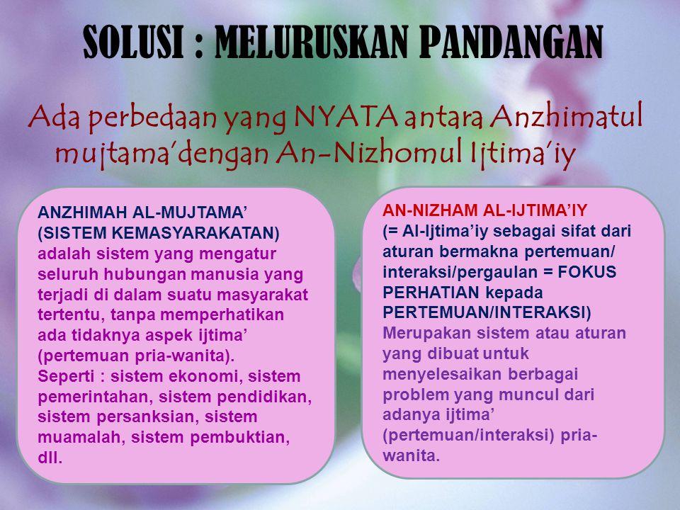 SOLUSI : MELURUSKAN PANDANGAN Ada perbedaan yang NYATA antara Anzhimatul mujtama'dengan An-Nizhomul Ijtima'iy ANZHIMAH AL-MUJTAMA' (SISTEM KEMASYARAKA