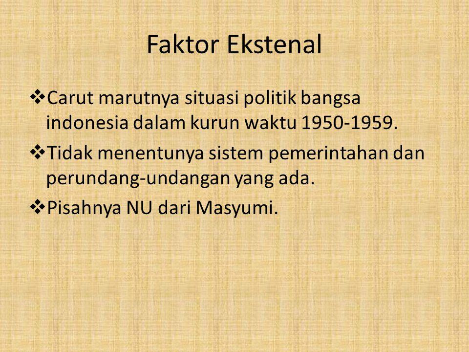 Faktor Ekstenal  Carut marutnya situasi politik bangsa indonesia dalam kurun waktu 1950-1959.  Tidak menentunya sistem pemerintahan dan perundang-un