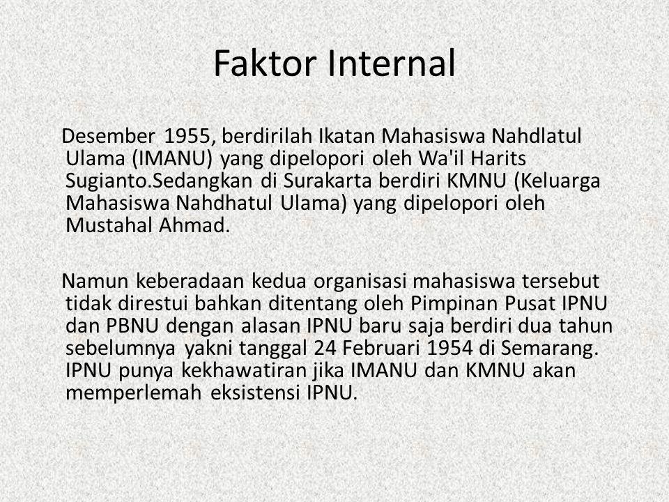 Faktor Internal Desember 1955, berdirilah Ikatan Mahasiswa Nahdlatul Ulama (IMANU) yang dipelopori oleh Wa'il Harits Sugianto.Sedangkan di Surakarta b