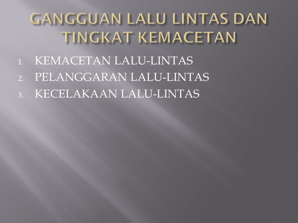1. KEMACETAN LALU-LINTAS 2. PELANGGARAN LALU-LINTAS 3. KECELAKAAN LALU-LINTAS