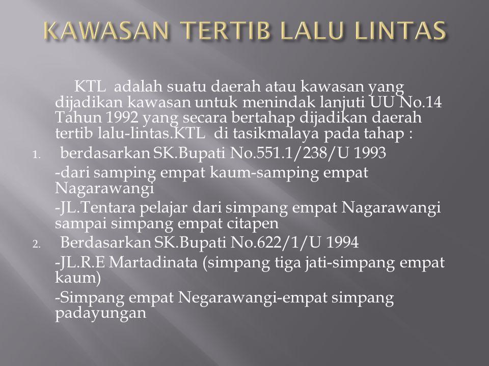 KTL adalah suatu daerah atau kawasan yang dijadikan kawasan untuk menindak lanjuti UU No.14 Tahun 1992 yang secara bertahap dijadikan daerah tertib lalu-lintas.KTL di tasikmalaya pada tahap : 1.