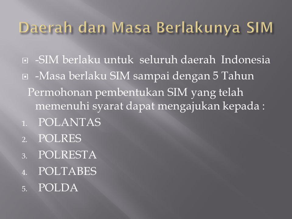  -SIM berlaku untuk seluruh daerah Indonesia  -Masa berlaku SIM sampai dengan 5 Tahun Permohonan pembentukan SIM yang telah memenuhi syarat dapat mengajukan kepada : 1.