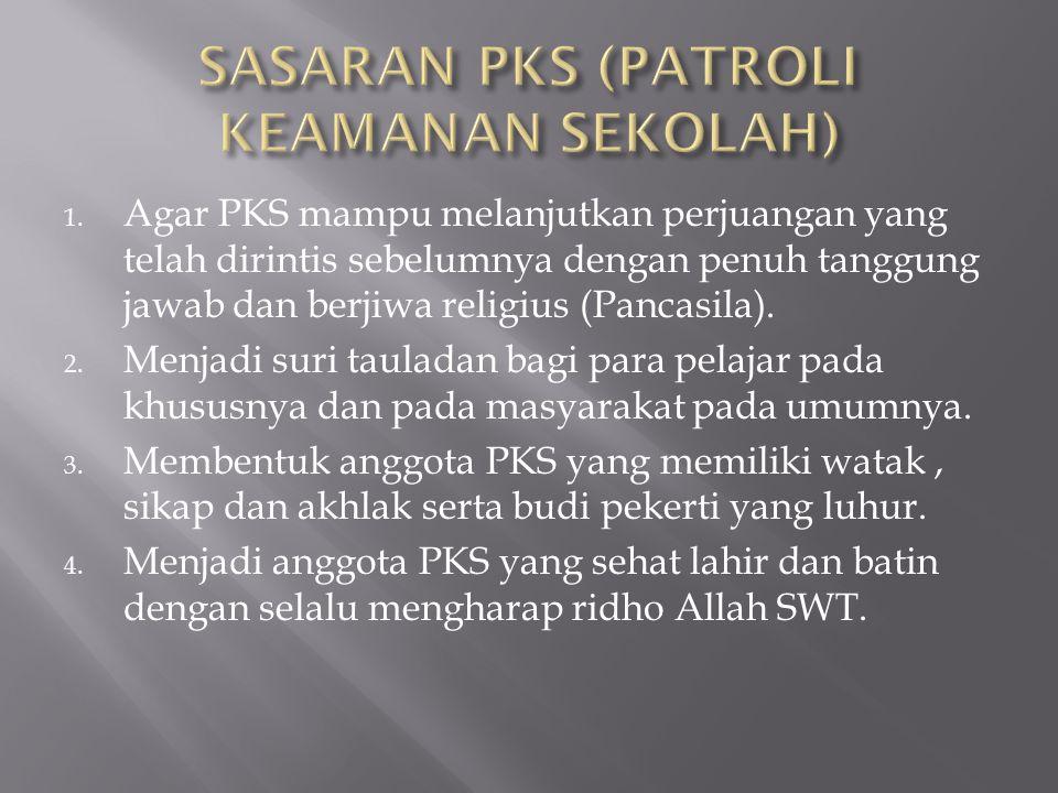 1. Agar PKS mampu melanjutkan perjuangan yang telah dirintis sebelumnya dengan penuh tanggung jawab dan berjiwa religius (Pancasila). 2. Menjadi suri