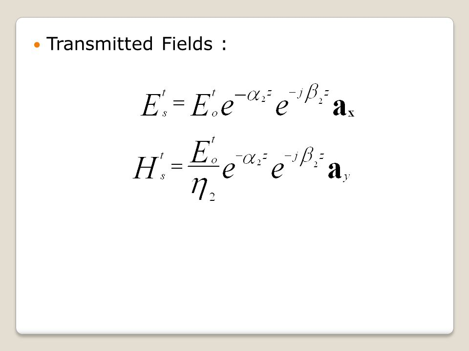 Transmitted Fields :