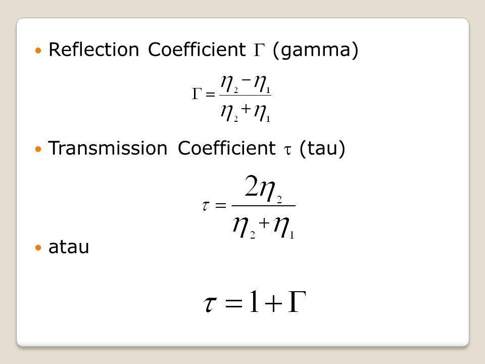 Reflection Coefficient  (gamma) Transmission Coefficient  (tau) atau
