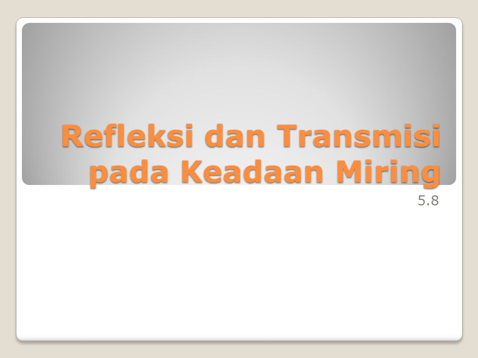 5.8 Refleksi dan Transmisi pada Keadaan Miring