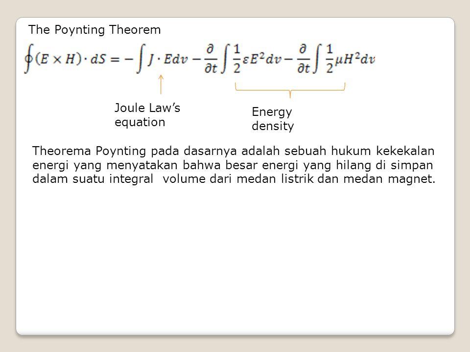The Poynting Theorem Joule Law's equation Energy density Theorema Poynting pada dasarnya adalah sebuah hukum kekekalan energi yang menyatakan bahwa be