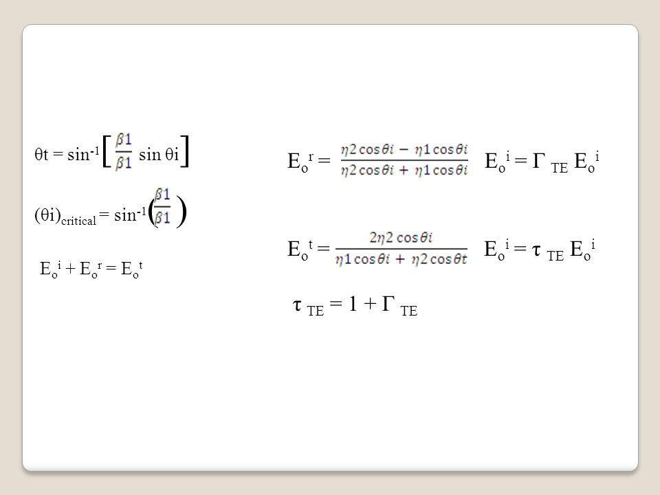 θt = sin -1 [ sin θi ] (θi) critical = sin -1 ( ) E o i + E o r = E o t E o r = E o i = Г TE E o i E o t = E o i = τ TE E o i τ TE = 1 + Г TE