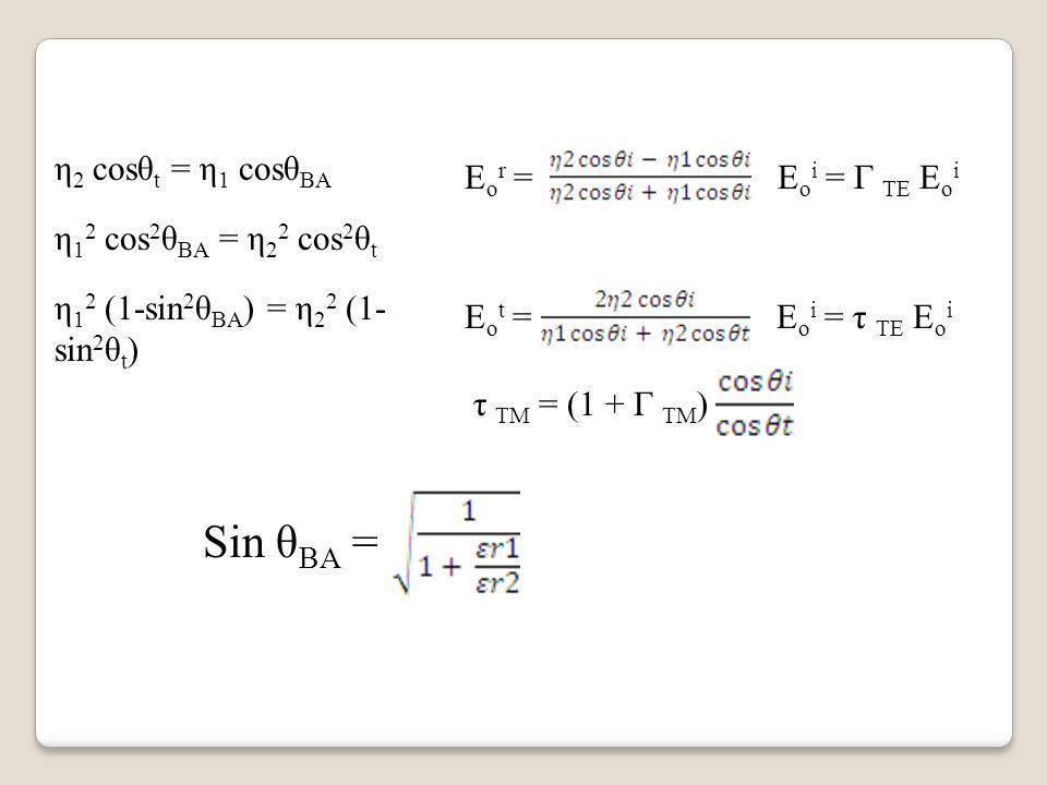 E o r = E o i = Г TE E o i E o t = E o i = τ TE E o i τ TM = (1 + Г TM ) η 2 cosθ t = η 1 cosθ BA η 1 2 cos 2 θ BA = η 2 2 cos 2 θ t η 1 2 (1-sin 2 θ