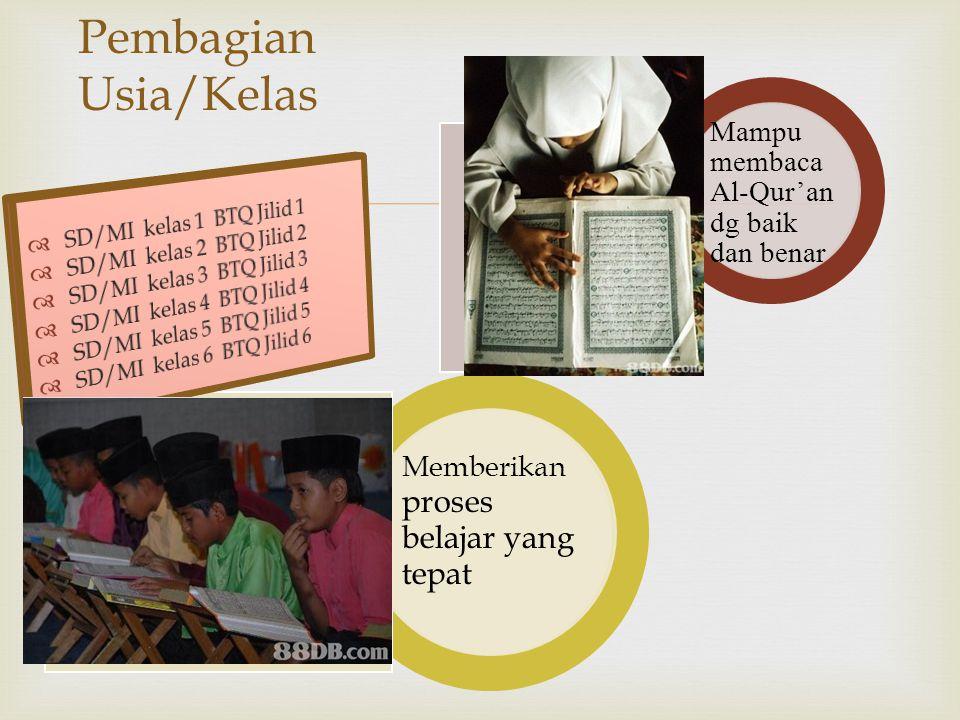  Pembagian Usia/Kelas Mampu membaca Al-Qur'an dg baik dan benar Memberikan proses belajar yang tepat