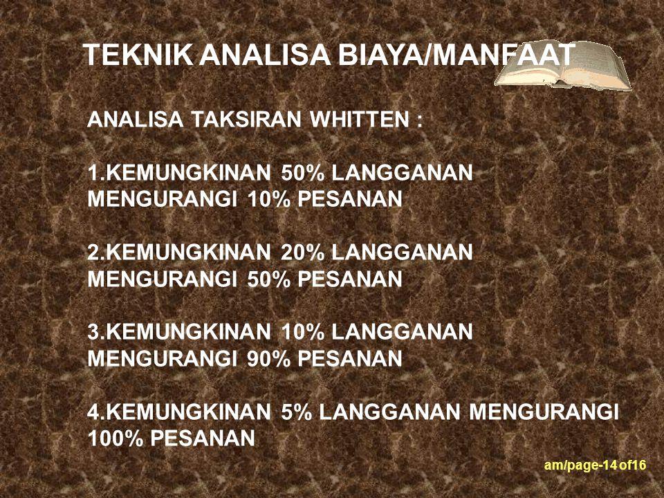 am/page-14 of16 ANALISA TAKSIRAN WHITTEN : 1.KEMUNGKINAN 50% LANGGANAN MENGURANGI 10% PESANAN 2.KEMUNGKINAN 20% LANGGANAN MENGURANGI 50% PESANAN 3.KEM