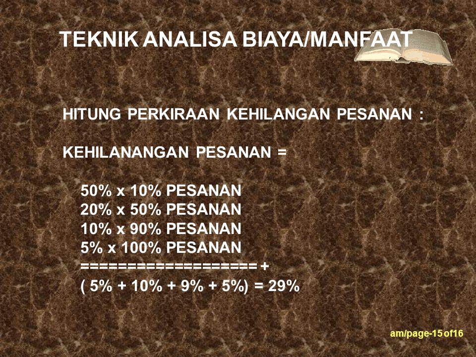 am/page-15 of16 HITUNG PERKIRAAN KEHILANGAN PESANAN : KEHILANANGAN PESANAN = 50% x 10% PESANAN 20% x 50% PESANAN 10% x 90% PESANAN 5% x 100% PESANAN =
