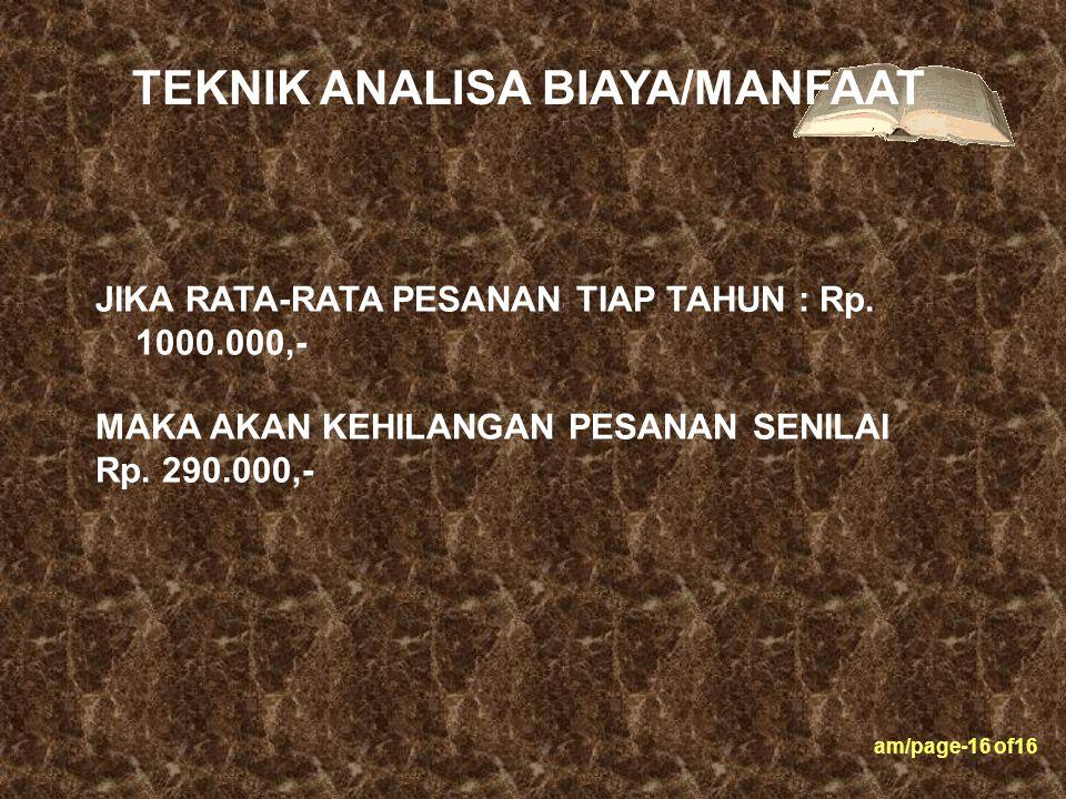am/page-16 of16 JIKA RATA-RATA PESANAN TIAP TAHUN : Rp. 1000.000,- MAKA AKAN KEHILANGAN PESANAN SENILAI Rp. 290.000,- TEKNIK ANALISA BIAYA/MANFAAT