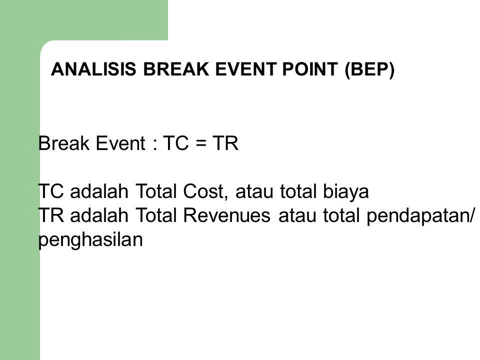 ANALISIS BREAK EVENT POINT (BEP) Break Event : TC = TR TC adalah Total Cost, atau total biaya TR adalah Total Revenues atau total pendapatan/ penghasi