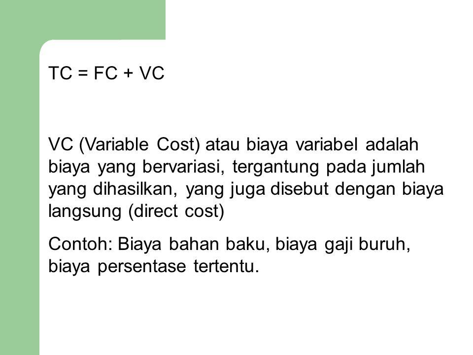 TC = FC + VC VC (Variable Cost) atau biaya variabel adalah biaya yang bervariasi, tergantung pada jumlah yang dihasilkan, yang juga disebut dengan bia