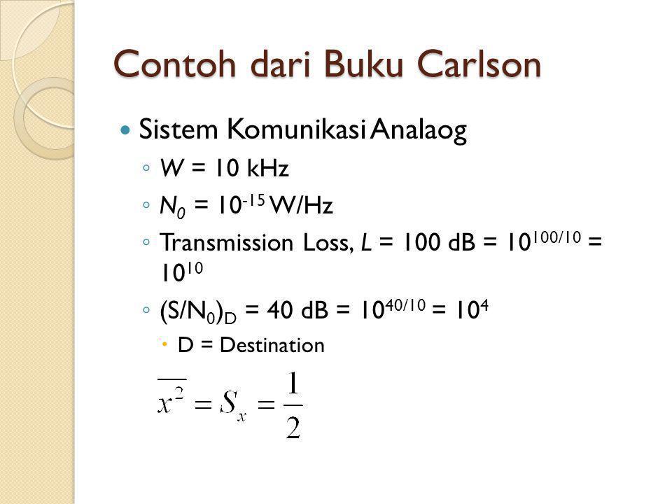 Contoh dari Buku Carlson Sistem Komunikasi Analaog ◦ W = 10 kHz ◦ N 0 = 10 -15 W/Hz ◦ Transmission Loss, L = 100 dB = 10 100/10 = 10 10 ◦ (S/N 0 ) D =