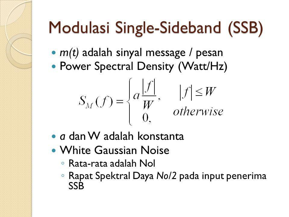 Modulasi Single-Sideband (SSB) m(t) adalah sinyal message / pesan Power Spectral Density (Watt/Hz) a dan W adalah konstanta White Gaussian Noise ◦ Rat
