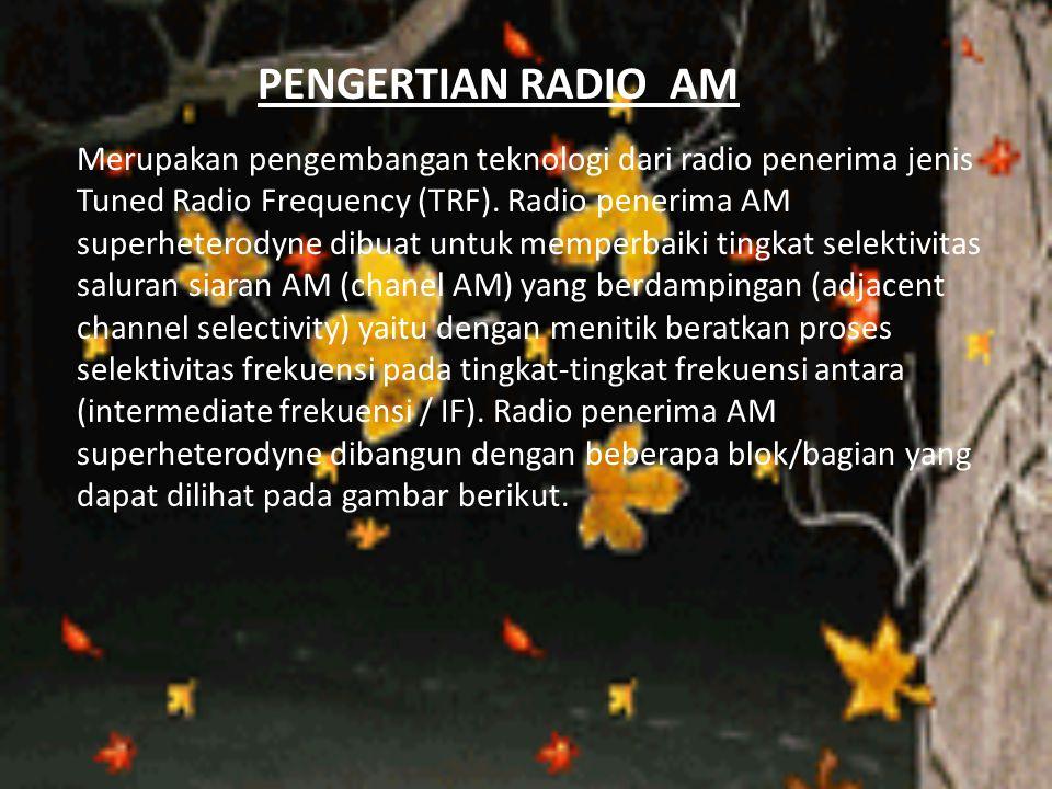 PENGERTIAN RADIO AM Merupakan pengembangan teknologi dari radio penerima jenis Tuned Radio Frequency (TRF). Radio penerima AM superheterodyne dibuat u