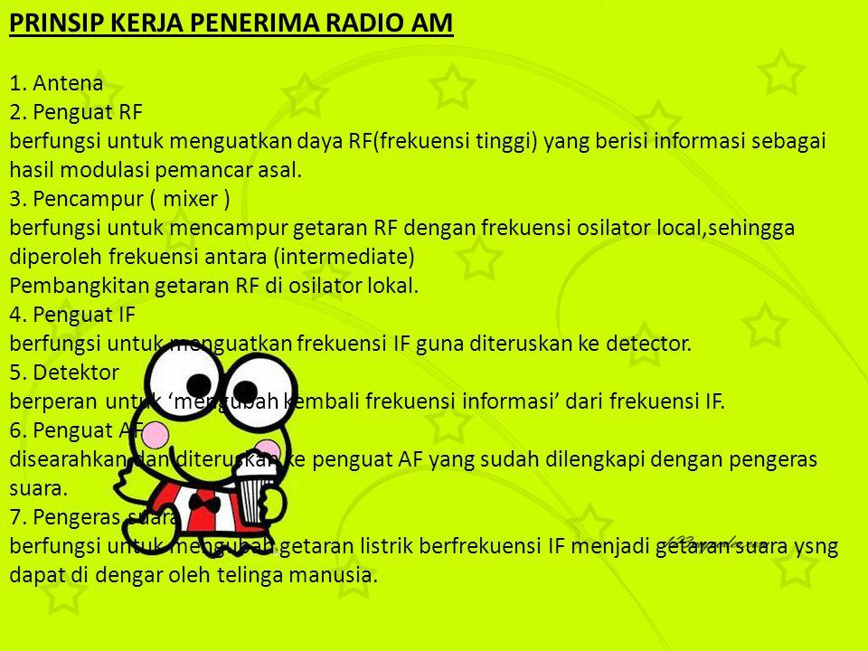 PRINSIP KERJA PENERIMA RADIO AM 1. Antena 2. Penguat RF berfungsi untuk menguatkan daya RF(frekuensi tinggi) yang berisi informasi sebagai hasil modul