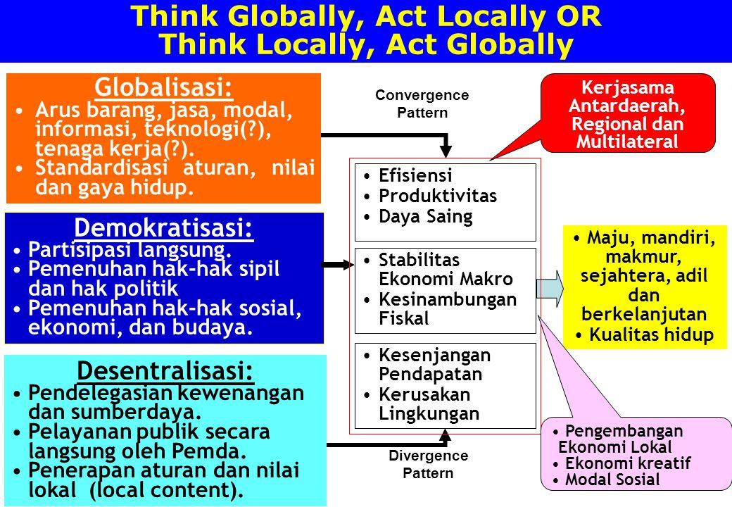 Think Globally, Act Locally OR Think Locally, Act Globally Globalisasi: Arus barang, jasa, modal, informasi, teknologi(?), tenaga kerja(?). Standardis