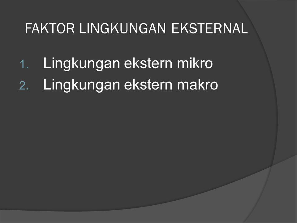 FAKTOR LINGKUNGAN EKSTERNAL 1. Lingkungan ekstern mikro 2. Lingkungan ekstern makro