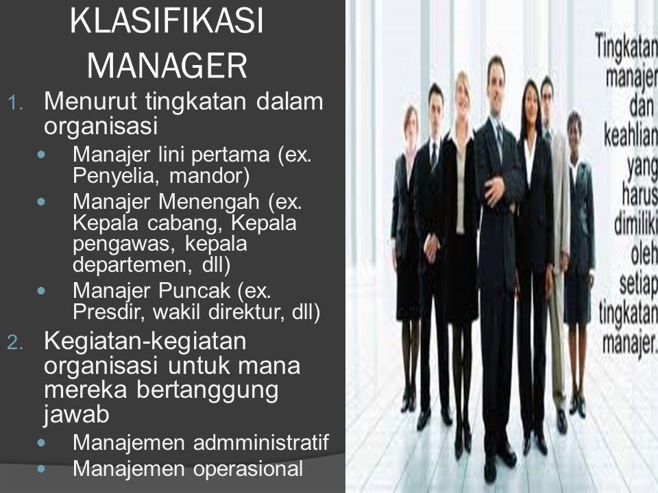 KLASIFIKASI MANAGER 1. Menurut tingkatan dalam organisasi Manajer lini pertama (ex.