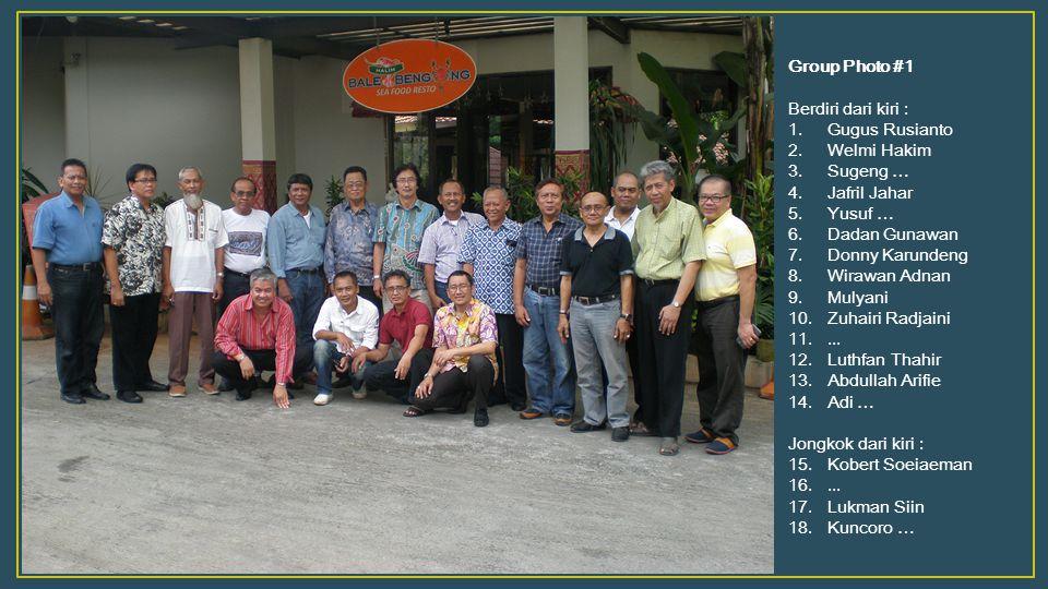 Group Photo #1 Berdiri dari kiri : 1.Gugus Rusianto 2.Welmi Hakim 3.Sugeng … 4.Jafril Jahar 5.Yusuf … 6.Dadan Gunawan 7.Donny Karundeng 8.Wirawan Adna