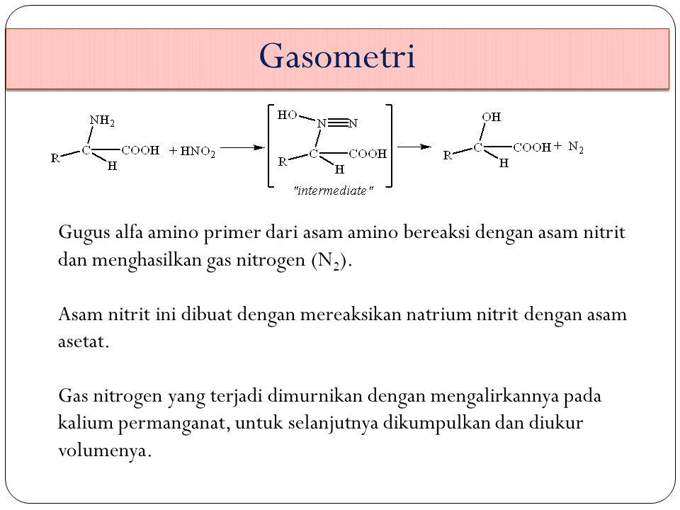 Gasometri Gugus alfa amino primer dari asam amino bereaksi dengan asam nitrit dan menghasilkan gas nitrogen (N 2 ). Asam nitrit ini dibuat dengan mere