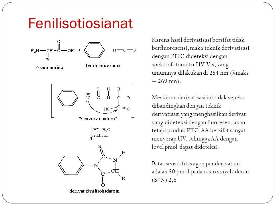 Fenilisotiosianat Karena hasil derivatisasi bersifat tidak berfluoresensi, maka teknik derivatisasi dengan PITC dideteksi dengan spektrofotometri UV-V