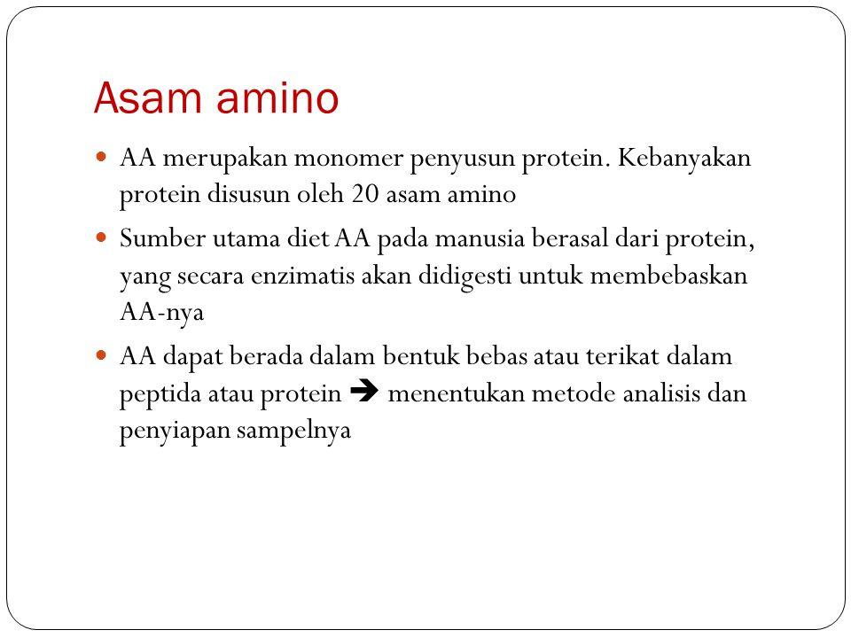 Asam amino AA merupakan monomer penyusun protein. Kebanyakan protein disusun oleh 20 asam amino Sumber utama diet AA pada manusia berasal dari protein