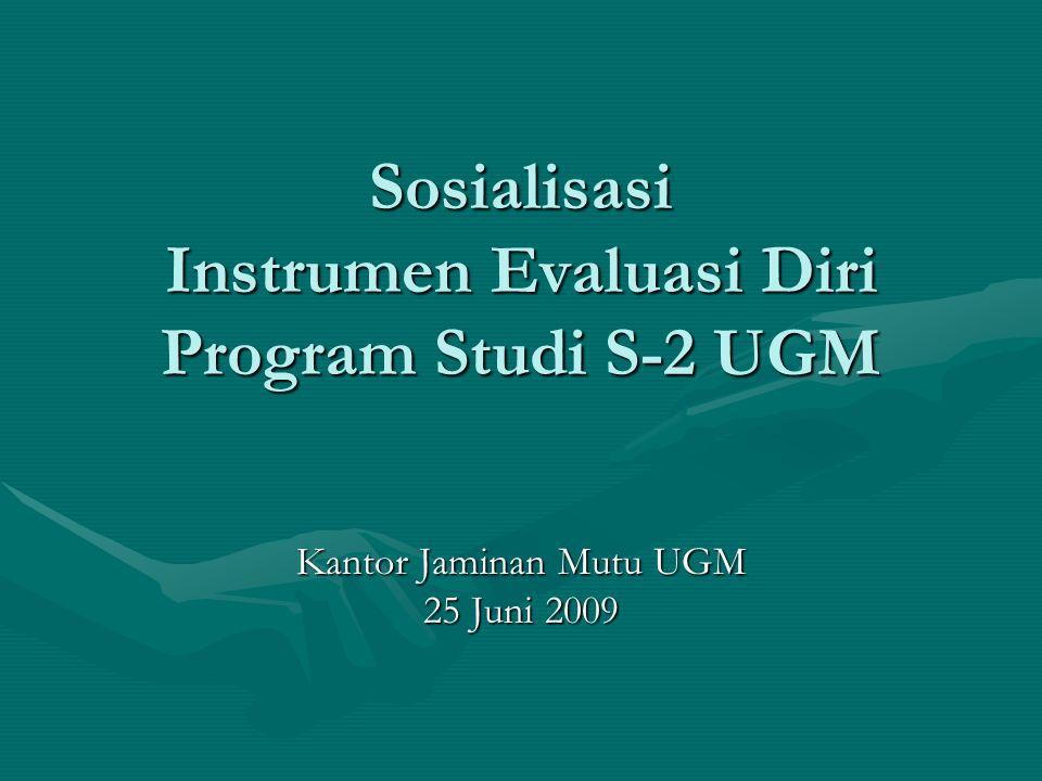 Sosialisasi Instrumen Evaluasi Diri Program Studi S-2 UGM Kantor Jaminan Mutu UGM 25 Juni 2009