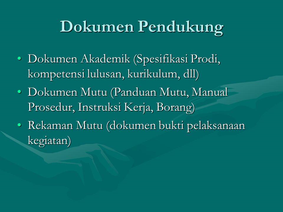 Dokumen Pendukung Dokumen Akademik (Spesifikasi Prodi, kompetensi lulusan, kurikulum, dll)Dokumen Akademik (Spesifikasi Prodi, kompetensi lulusan, kurikulum, dll) Dokumen Mutu (Panduan Mutu, Manual Prosedur, Instruksi Kerja, Borang)Dokumen Mutu (Panduan Mutu, Manual Prosedur, Instruksi Kerja, Borang) Rekaman Mutu (dokumen bukti pelaksanaan kegiatan)Rekaman Mutu (dokumen bukti pelaksanaan kegiatan)