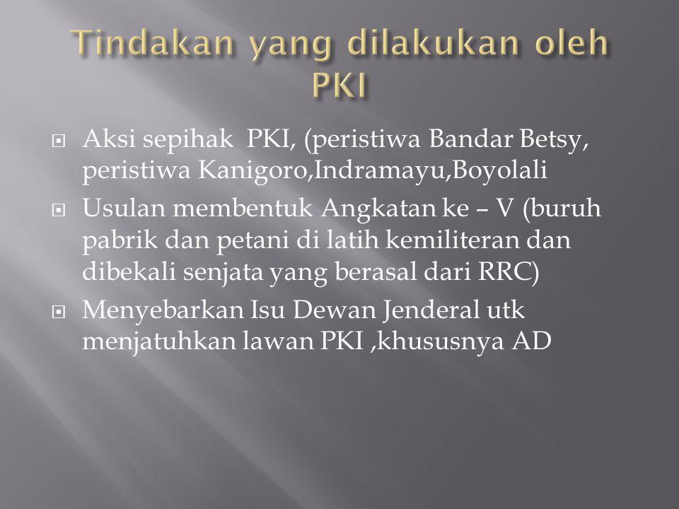  Aksi sepihak PKI, (peristiwa Bandar Betsy, peristiwa Kanigoro,Indramayu,Boyolali  Usulan membentuk Angkatan ke – V (buruh pabrik dan petani di lati