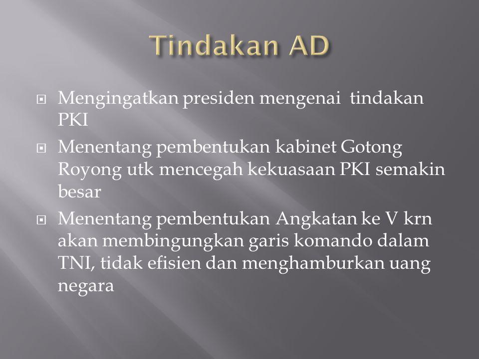  Mengingatkan presiden mengenai tindakan PKI  Menentang pembentukan kabinet Gotong Royong utk mencegah kekuasaan PKI semakin besar  Menentang pembe