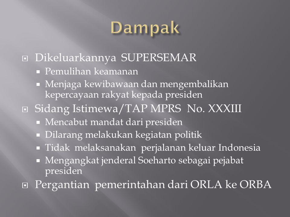  Dikeluarkannya SUPERSEMAR  Pemulihan keamanan  Menjaga kewibawaan dan mengembalikan kepercayaan rakyat kepada presiden  Sidang Istimewa/TAP MPRS
