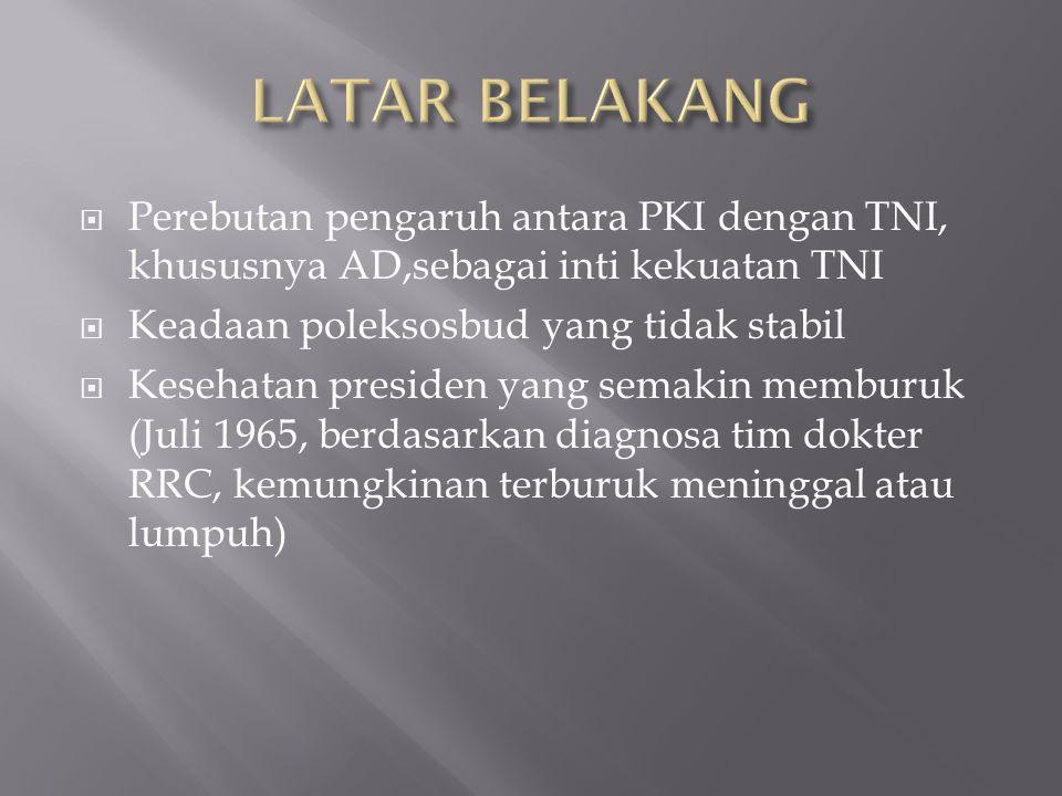  Perebutan pengaruh antara PKI dengan TNI, khususnya AD,sebagai inti kekuatan TNI  Keadaan poleksosbud yang tidak stabil  Kesehatan presiden yang s