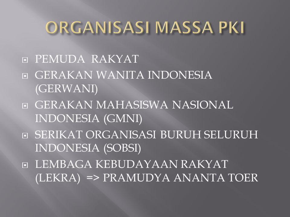  PEMUDA RAKYAT  GERAKAN WANITA INDONESIA (GERWANI)  GERAKAN MAHASISWA NASIONAL INDONESIA (GMNI)  SERIKAT ORGANISASI BURUH SELURUH INDONESIA (SOBSI