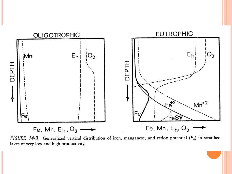 Bila oksigen terlarut dalam air maka dihasilkan potensial redoks menurut reaksi: Pada kondisi kesetimbangan, pE air tidak sensitif terhadap perubahan konsentrasi maupun peningkatan saturasi oksigen.