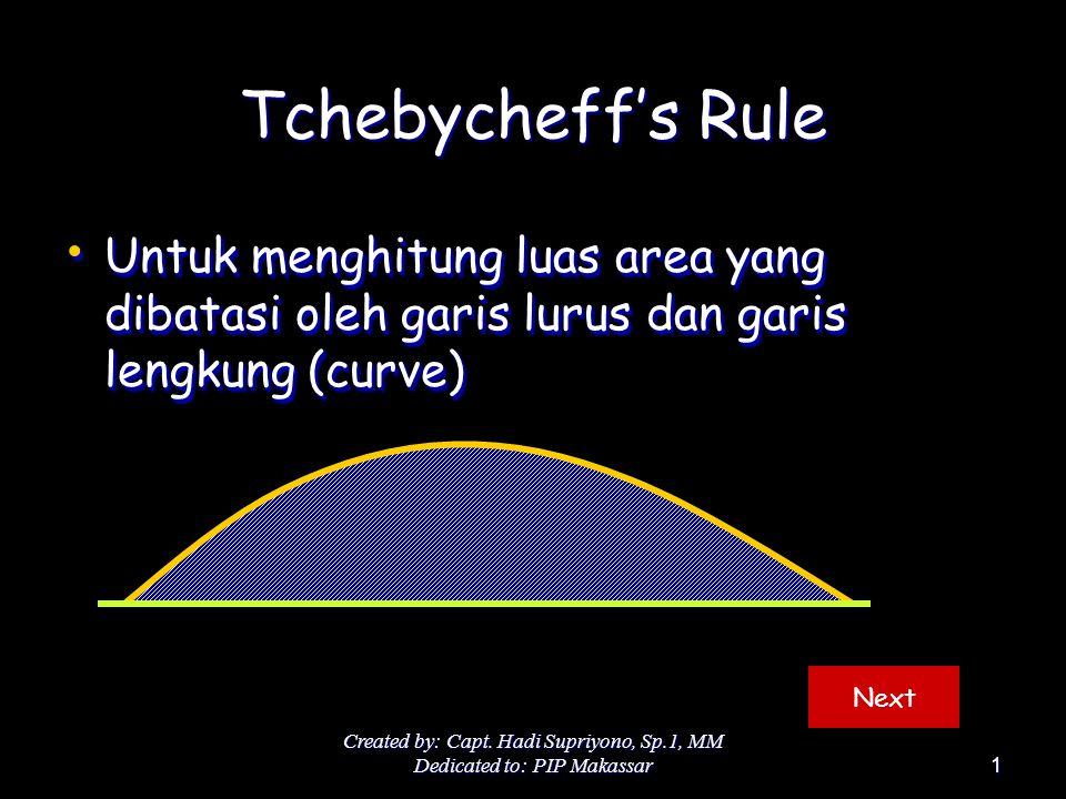 Created by: Capt. Hadi Supriyono, Sp.1, MM Dedicated to: PIP Makassar1 Tchebycheff's Rule Untuk menghitung luas area yang dibatasi oleh garis lurus da