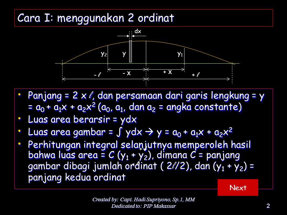 Created by: Capt. Hadi Supriyono, Sp.1, MM Dedicated to: PIP Makassar2 Cara I: menggunakan 2 ordinat Panjang = 2 x l, dan persamaan dari garis lengkun