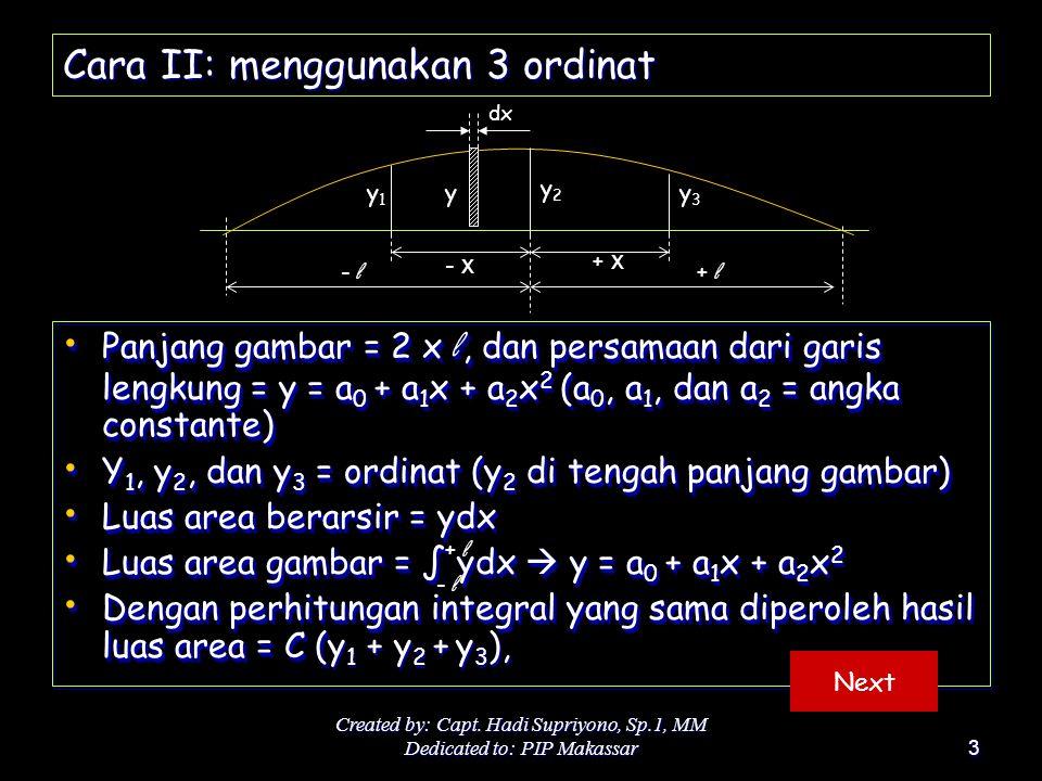 Created by: Capt. Hadi Supriyono, Sp.1, MM Dedicated to: PIP Makassar3 Cara II: menggunakan 3 ordinat Panjang gambar = 2 x l, dan persamaan dari garis