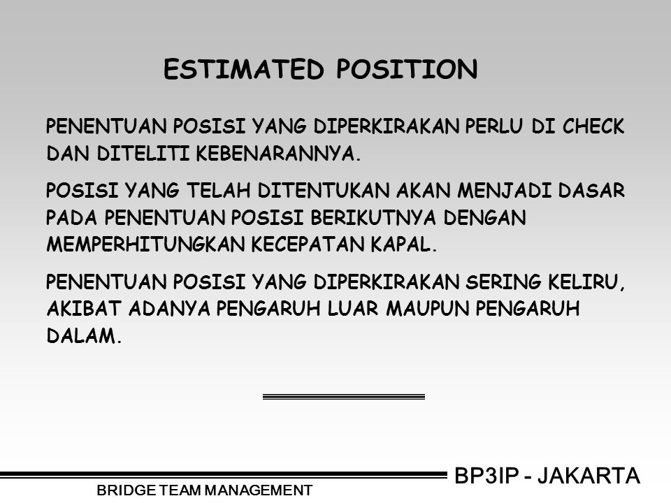 BP3IP - JAKARTA BRIDGE TEAM MANAGEMENT