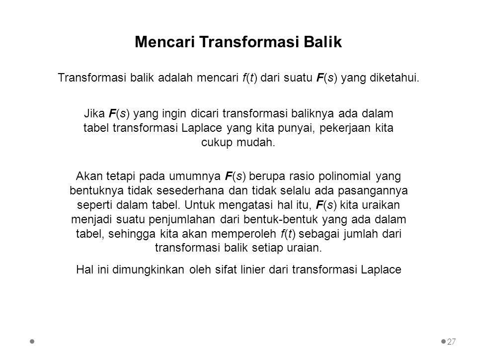 Transformasi balik adalah mencari f(t) dari suatu F(s) yang diketahui. Mencari Transformasi Balik Akan tetapi pada umumnya F(s) berupa rasio polinomia