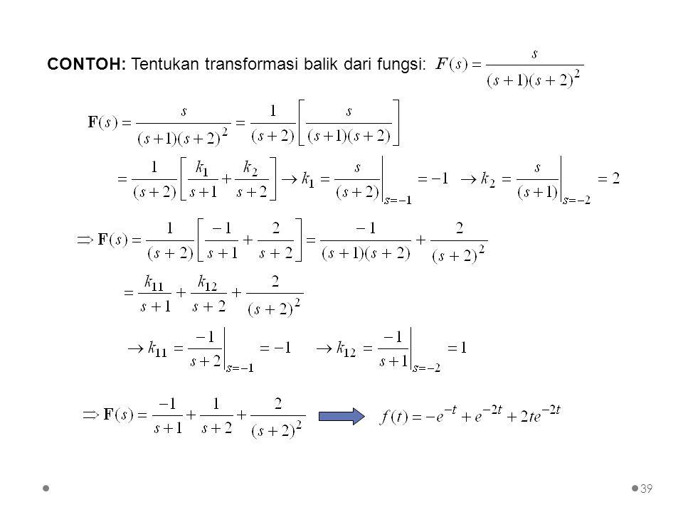 CONTOH: Tentukan transformasi balik dari fungsi: 39