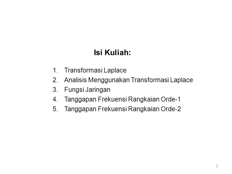 Isi Kuliah: 1.Transformasi Laplace 2.Analisis Menggunakan Transformasi Laplace 3.Fungsi Jaringan 4.Tanggapan Frekuensi Rangkaian Orde-1 5.Tanggapan Fr