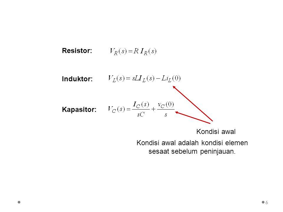 Konsep Impedansi di Kawasan s Impedansi di kawasan s adalah rasio tegangan terhadap arus di kawasan s dengan kondisi awal nol Dengan konsep impedansi ini maka hubungan tegangan-arus untuk resistor, induktor, dan kapasitor menjadi sederhana.