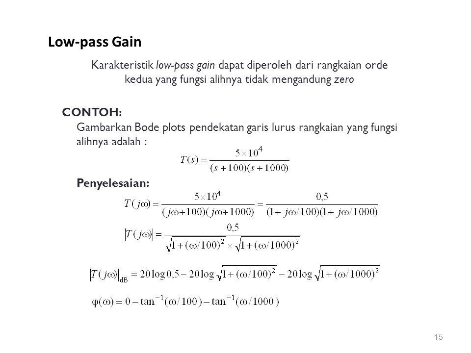 Low-pass Gain 15 Karakteristik low-pass gain dapat diperoleh dari rangkaian orde kedua yang fungsi alihnya tidak mengandung zero CONTOH: Gambarkan Bode plots pendekatan garis lurus rangkaian yang fungsi alihnya adalah : Penyelesaian: